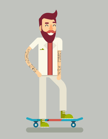 boy skater: Smiling Adult Man Geek Scooter Happy Hipster Character Ride Skateboard Icon Symbol Stylish Background Flat Template Vector Illustration Illustration