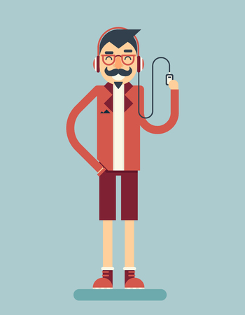 music player: Happy Smiling Adult Man Geek Hipster Character Listen Music Player Icon Stylish Background Flat Design Template Vector Illustration