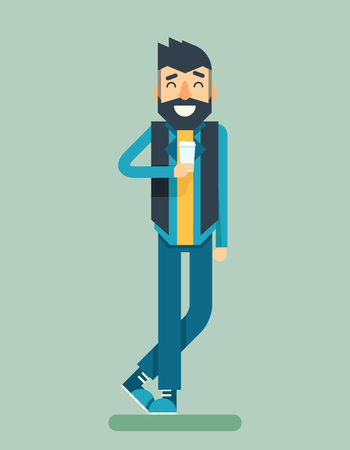 listen music: Happy Smiling Adult Man Geek Hipster Character Listen Music Player Icon Stylish Background Flat Design Template Vector Illustration