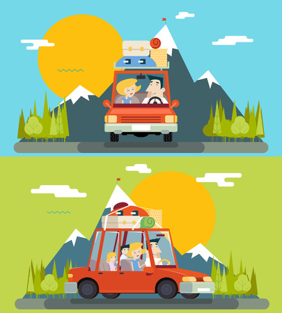 Car Trip Family Adult Children Road Concept Flat Icon Mountain Forest Background Vector Illustration  イラスト・ベクター素材