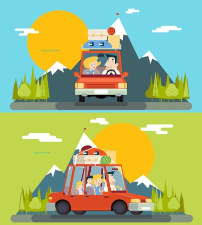 niño modelo: Viaje del coche de la ilustración de la familia adulto Niños carretera plana Concepto Icono de la montaña Bosque fondo del vector