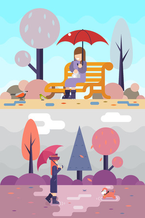 rain coat: Happy girl sit bench watch birds dog puddles umbrella autumn spring nature park concept flat landscape background template vector illustration