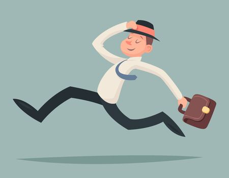 character design: Vintage Businessman Running Hurry Race Rush Velocity Winner Character Icon Stylish Background Retro Cartoon Design Vector Illustration