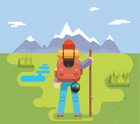 mountain holidays: Mountain Travel Trip Vacation Backpaker Man Wood Staff Concept Flat Icon Forest Background Vector Illustration Illustration