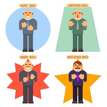 obrero caricatura: Jefe de Avatar feliz sorprendido emociones del bigote enojado pesado, establecidas car�cter de s�mbolo del icono de negocios concepto de fondo ilustraci�n vectorial Piso Dise�o