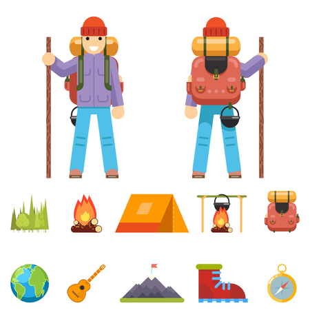 backpack: Backpaker Character Mountain Travel Trip Vacation Man Wood Summer Spring Flat Design Isolated Icon Set Vector Illustration