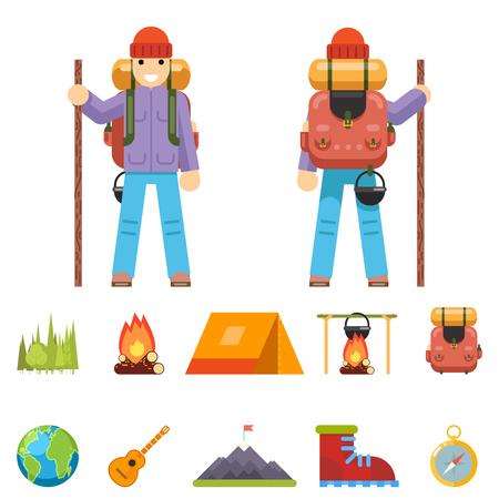 niño con mochila: Trotamundo Carácter montaña vacaciones viaje Hombre de madera de primavera y verano Piso Diseño Icono aislado de la ilustración vectorial Conjunto