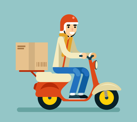 delivery icon: Delivery Courier Motorcycle Scooter Box Symbol Icon Concept Isolated Green Background Flat Design Vector Illustration