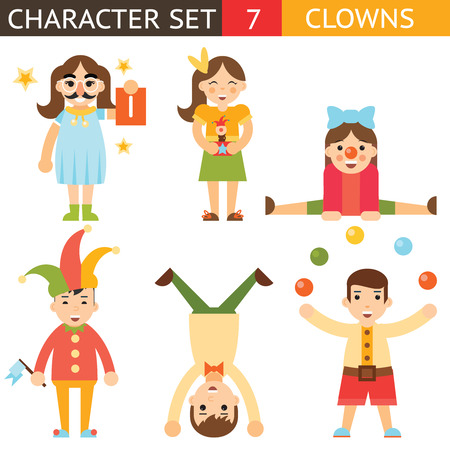 idiot box: Clown 1 April Joke Fun Boys Girls Characters Icon Set Symbol  Accessories Stylish Isolated Flat Design Concept Vector Illustration