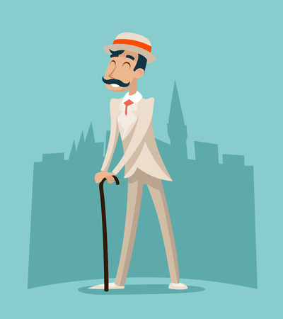 in english: Wealthy Cartoon Victorian Gentleman Businessman Character Icon Stylish English City Background Retro Vintage Great Britain Design Vector Illustration