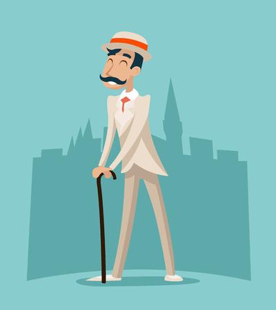 gentlemen: Wealthy Cartoon Victorian Gentleman Businessman Character Icon Stylish English City Background Retro Vintage Great Britain Design Vector Illustration