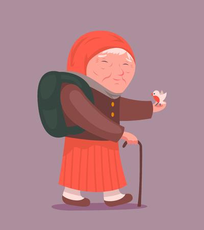older woman smiling: Old Lady Adult Traveler Cartoon Design Character Icon Stylish Background Vector Illustration Illustration