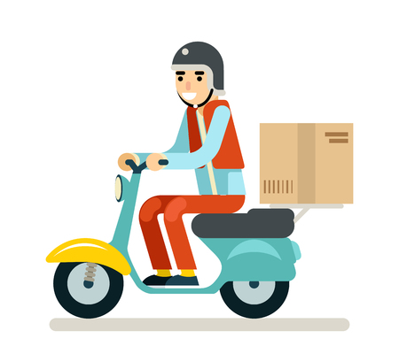 courier: Delivery Courier Motorcycle Scooter Box Symbol Icon Concept Isolated Green Background Flat Design Vector Illustration