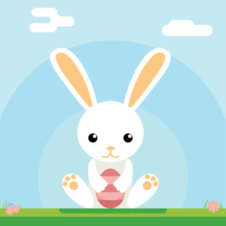 moble: Easter bunny hold egg icon background template flat moble apps design vector illustration Illustration