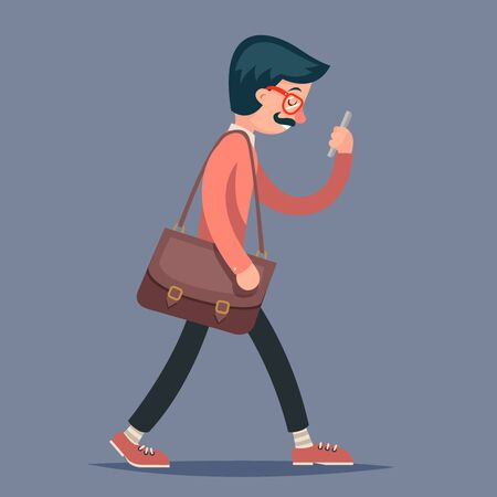 geek: Ingeniero de la vendimia personaje masculino Geek Hipster Paseo del tel�fono m�vil del bolso de la caja de fondo del icono con estilo retro Ilustraci�n de dibujos animados de dise�o vectorial