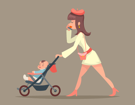 stylish woman: Vintage Woman Mother with Child Character Icon Stylish Background Retro Cartoon Design Vector Illustration