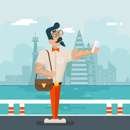 geek: Ricos de la historieta del inconformista del friki del tel�fono m�vil selfie hombre de negocios icono del car�cter elegante fondo de la ciudad Ilustraci�n plana de dise�o vectorial