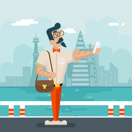 geek: Wealthy Cartoon Hipster Geek Mobile Phone Selfie Businessman Character Icon Stylish City Background Flat Design Vector Illustration