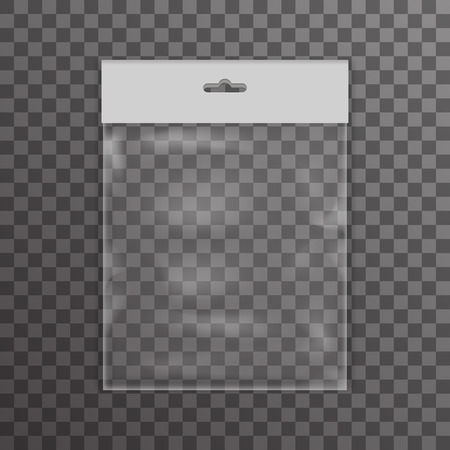 pouch: Plastic bag icon transparent reality background vector illustration