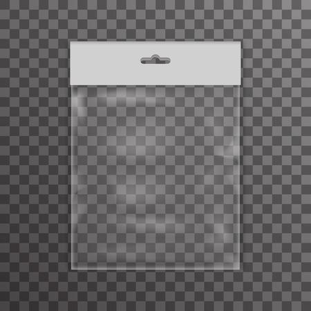 Plastikowa torba przejrzyste ikony rzeczywistością tle ilustracji wektorowych