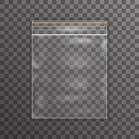 La bolsa de plástico transparente icono de la realidad de fondo ilustración vectorial