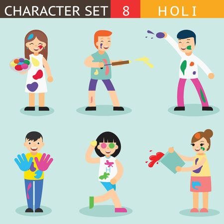 symbol people: Holiday Season Colours Holi People Happy Characters Icon Set Symbol Accessories Stylish Isolated Flat Design Template Vector Illustration