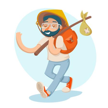 traveller: Cartoon Hipster Geek Traveler Businessman Vacation Summer Character Icon Stylish Background Design Vector Illustration