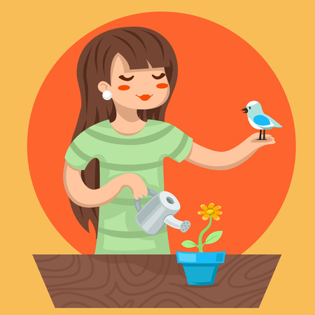 female girl: Cartoon Girl Female Woman Character Bird Watering Flower Icon Stylish Background Design Vector Illustration Illustration