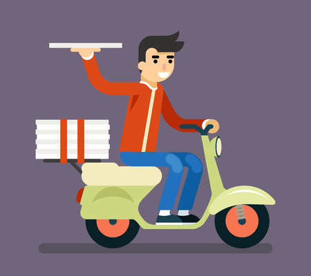 delivery boy: Pizza Delivery Courier Motorcycle Scooter Box Symbol Icon Concept Isolated Stylish Background Flat Design Vector Illustration