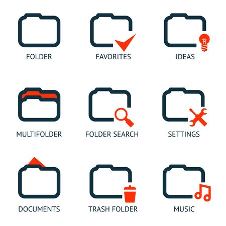 folder icons: Mobile Apps Folder Icons Set Favorites Settings Music Ideas Search Documents Trash Template Vector Illustration Illustration