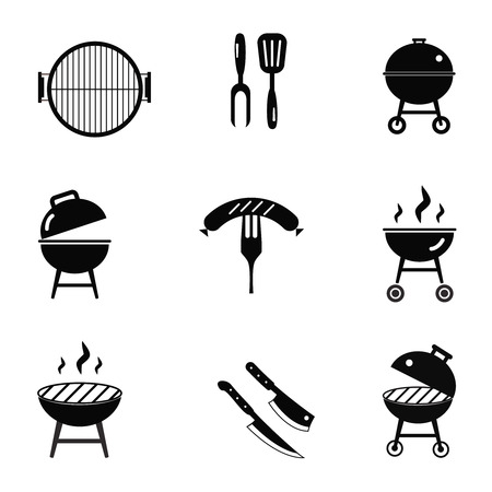 dinner party: stock vector barbecue restaurant party family dinner summer picnic food symbols flat design template illustration Illustration