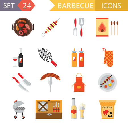 family dinner: stock barbecue restaurant party family dinner summer picnic food symbols flat design template illustration