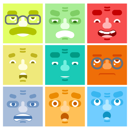 man yelling: Smiles Set Adult Avatar Emotions Happy Surprised Mustache Angry Adult Character Symbol Business Icon Isolated White Background Concept Flat Template Illustration