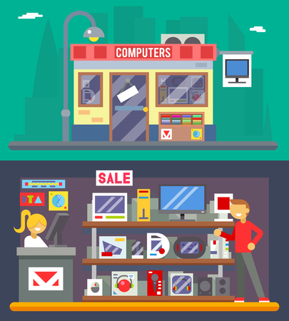 Computer Shop Inter Vendedor mercancías oferta de venta Icono plana del diseño del fondo del personaje ilustración de la ciudad
