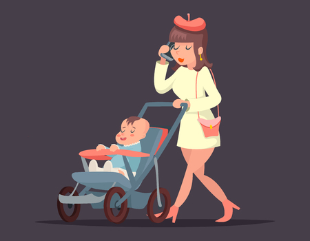 phone isolated: Cute mother child with mobile phone. Isolated illustration