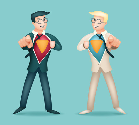 deeds: hero Suit Shirt Happy Smiling Businessman Turns in Icon Stylish Background Retro Cartoon Design Illustration
