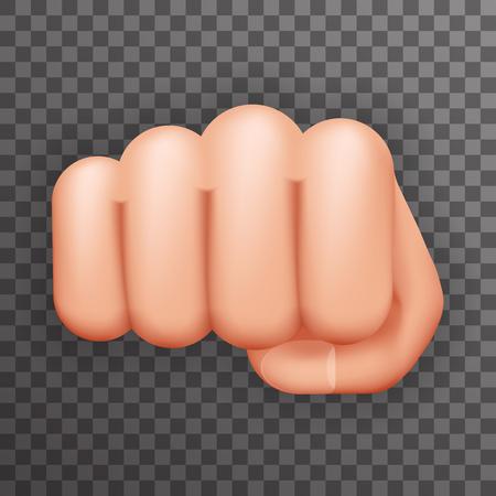 determination: Realistic 3d Punch Fist Hand Palm Icon Social Power Courage Determination Concept Flat Design Illustration Illustration