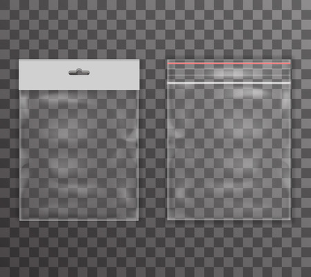 Plastic bag icon transparent reality background  illustration
