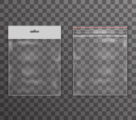 La bolsa de plástico transparente icono de la realidad de fondo ilustración Ilustración de vector