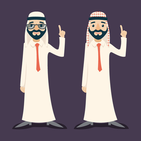 presentation board: Finger Pointing Up Businessman Sale Presentation Cartoon Character Arab Traditional National Muslim Clothes White Board Icon Stylish Background Retro Cartoon Design Illustration Illustration