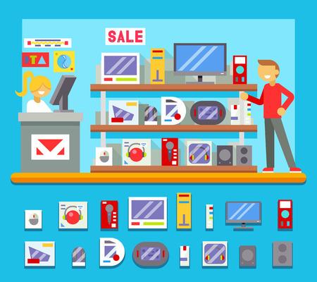 shop assistant: Computer Shop Interior Seller Goods Offer Sale Icon Flat Design Character City Background Illustration Illustration