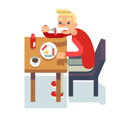 coffee table: Eat breakfast coffee table chair guy fried eggs Isolated Flat Design Character Illustration
