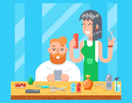 haircutting: Barber hipster geek online mobile character male and female master haircuts icon stylish background Flat Design Concept Template Illustration