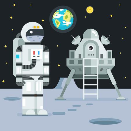 spaceflight: Cosmonaut Astronaut Landing Planet Lander Icon on Stylish Earth Moon Stars Background Cartoon Design Illustration