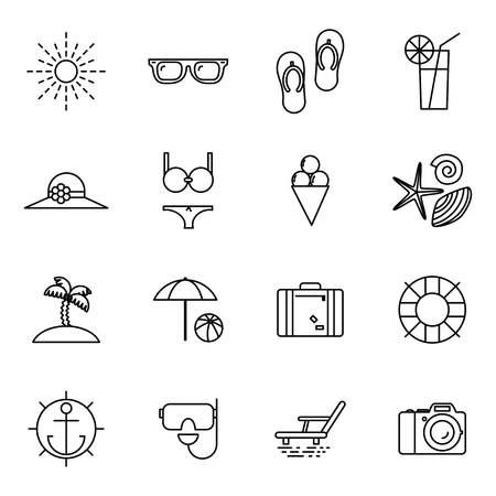 accessorize: Summer vacation line art beach resort accessorize symbols flat design template illustration