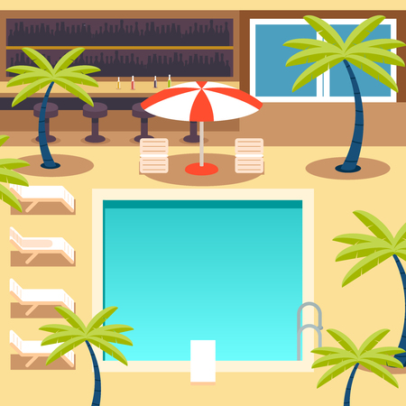 hotel pool: Sunny Pool Hotel Summer Vacation Tourism Journey Ocean Sea Travel Background Flat Design Concept Template Illustration