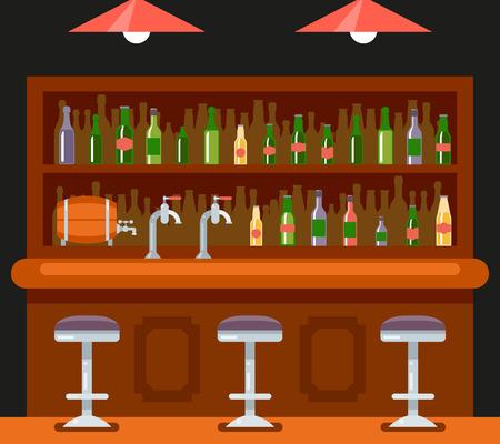 beer house: Pub Bar Restaurant Cafe Symbol Alcohol Beer House Interior Background Concept Flat Design Template Illustration Illustration