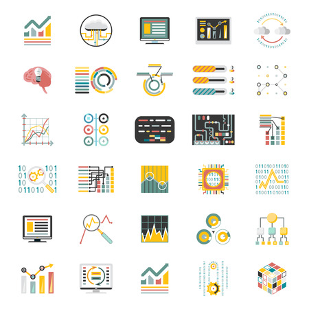 revenue: Data Processing Volume Isolated on White Background Icons Set Infographic Design Mobile Apps Template Illustration