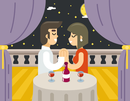 beloved: Romantic evening night love beloved dating man woman food dinner wine Symbol Icon Concept Isolated Stylish Background Flat Design Illustration