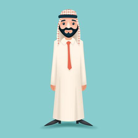 hombre arabe: 3D realistas de negocios Venta de personaje de dibujos animados Presentación árabe tradicional ropa nacional musulmanes Blanco Icono Junta de fondo del diseño con estilo retro de dibujos animados Vectores